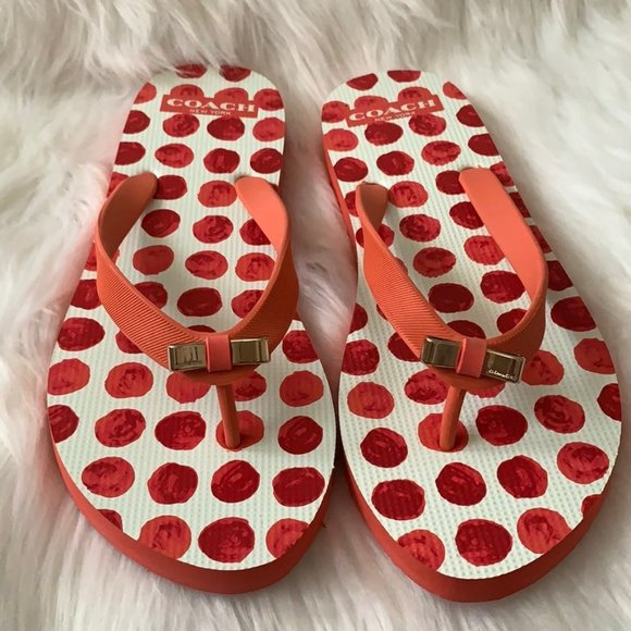 COACH Dot Printed Flip Flop Sandals Size 8